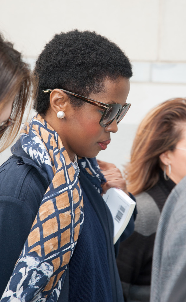 Lauryn Hill arrives at court on May 6, 2013 in Newark, New Jersey. Hill plead guilty to tax evasion charges in June 2012 for failure to pay federal taxes on $1.8 million earned from 2005-2007.