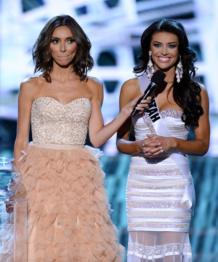 Television personality and host Giuliana Rancic (L) looks on as Miss Utah USA Marissa Powell answers a question from a judge during the interview portion of the 2013 Miss USA pageant at PH Live at Planet Hollywood Resort & Casino on June 16, 2013 in Las Vegas, Nevada
