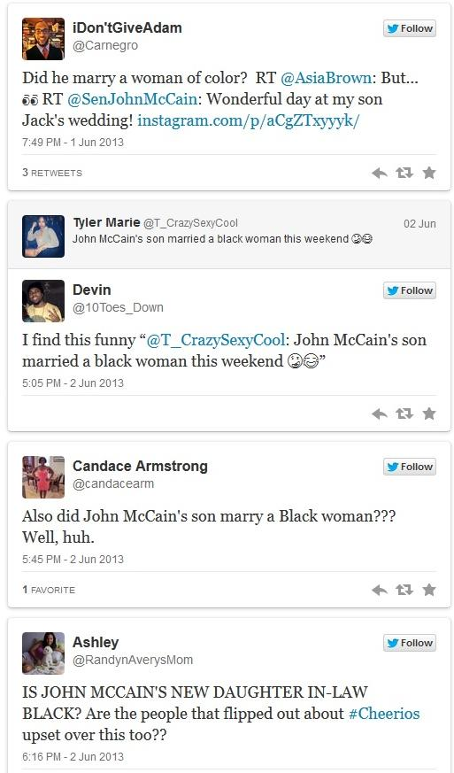 mccain wedding twitter comments