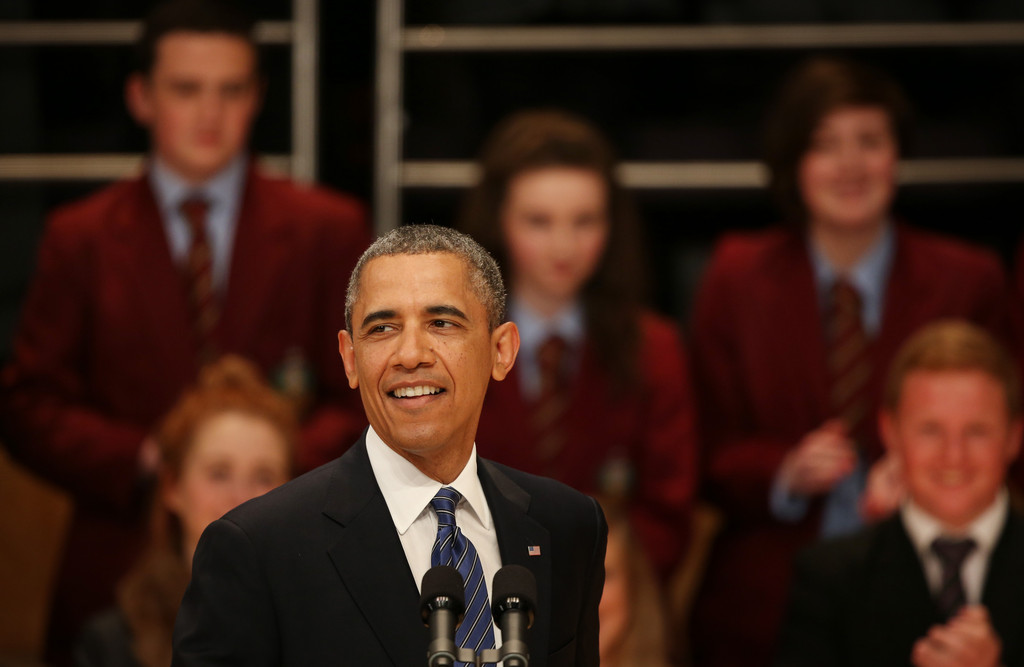 President Barack Obama smiles as he speaks in the Waterfront Hall on June 17, 2013 in Belfast, Northern Ireland. Later The President will join other leaders at the G8 Summit in Fermanagh