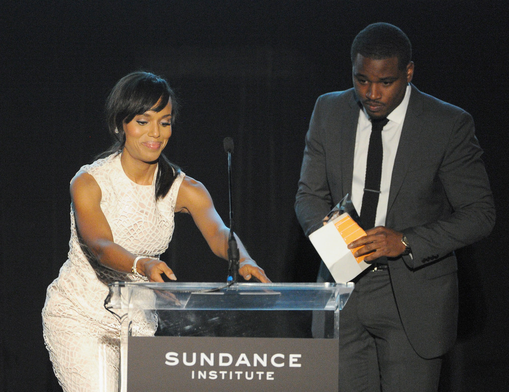 Actress Kerry Washington presenting Ryan Coogler with the Vanguard Award onstage at the 2013 Celebrate Sundance Institute Los Angeles Benefit hosted by Tiffany & Co. at The Lot on June 5, 2013 in West Hollywood
