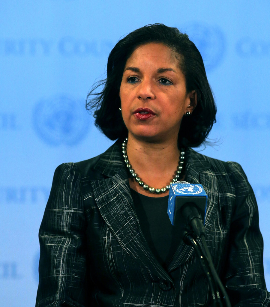 Susan Rice, the U.S. ambassador to the United States, speaks to the media at the United Nations following Security Council Consolations after North Korea announced they have conducted a third nuclear test on February 12, 2013 in New York City