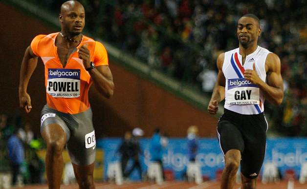 Asafa Powell (L) and Tyson Gay in Brussels, 2009