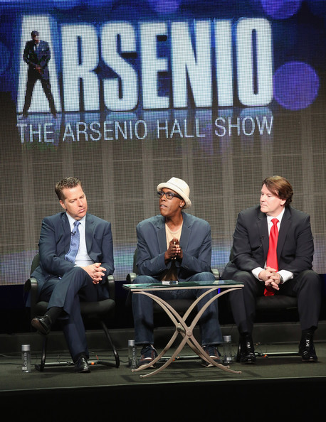 "(L-R) Executive producer Neal Kendall, host/executive producer Arsenio Hall and executive producer John Ferriter speak onstage during ""The Arsenio Hall Show"" panel discussion at the CBS, Showtime and The CW portion of the 2013 Summer Television Critics Association tour at the Beverly Hilton Hotel on July 29, 2013 in Beverly Hills"