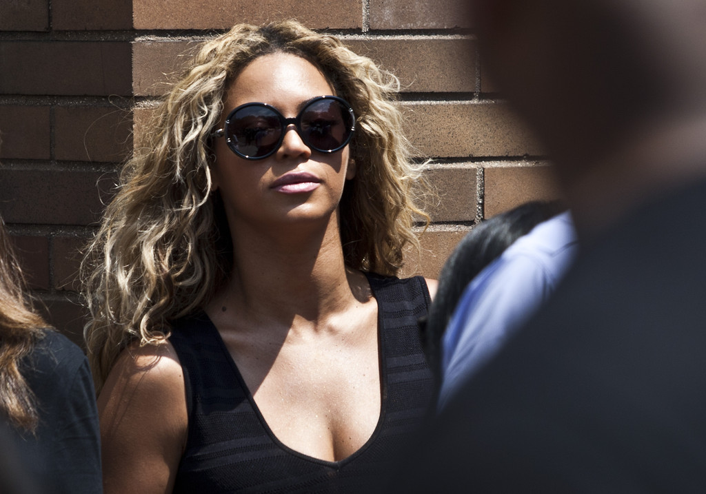 Singer Beyonce attends a rally honoring Trayvon Martin outside One Police Plaza in Manhattan on July 20, 2013 in New York City