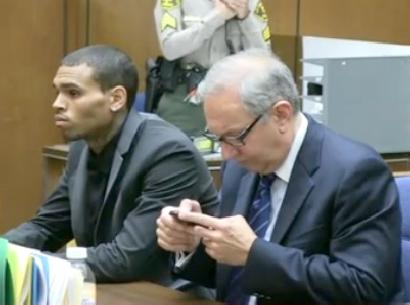 chris brown & lawyer in court