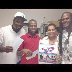 DJ Snatch 1, Jahquie Martin, friend, and Ryan Gentles