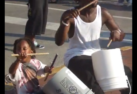father & son drumming duo