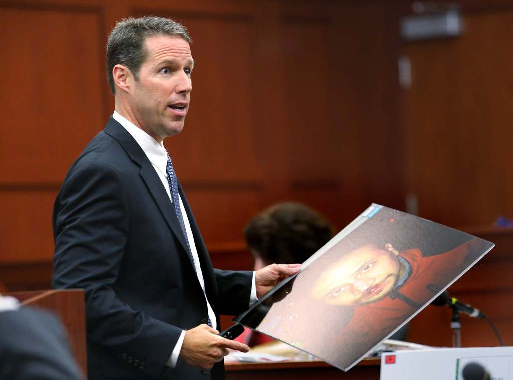 Prosecutor John Guy addresses the jury during closing rebuttal during George Zimmerman's murder trial July 12, 2013 in Sanford, Florida