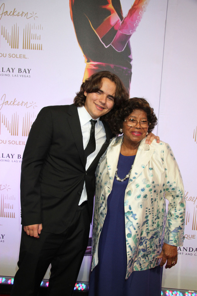 Prince Michael Jackson and Katherine Jackson at the world premiere of 'Michael Jackson ONE by Cirque du Soleil' at Mandalay Bay Hotel & Casino in Las Vegas. (June 29, 2013)