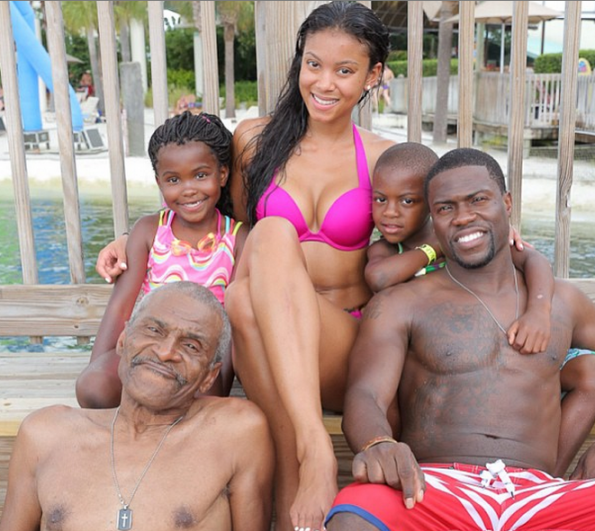 kevin hart, dad, kiods & ex-wife torrei at disney world