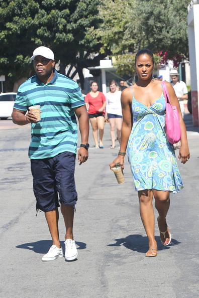 Laila Ali strolls with her Hubby Curtis Conway around Cross Creek in Malibu. (July 29, 2013)