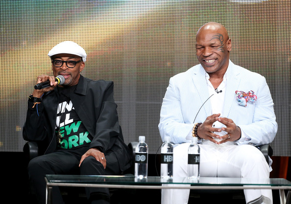 "Director Spike Lee (L) and Mike Tyson speak onstage during the ""Mike Tyson: Undisputed Truthts"" panel discussion at the HBO portion of the 2013 Summer Television Critics Association tour - Day 2 at the Beverly Hilton Hotel on July 25, 2013 in Beverly Hills, California"