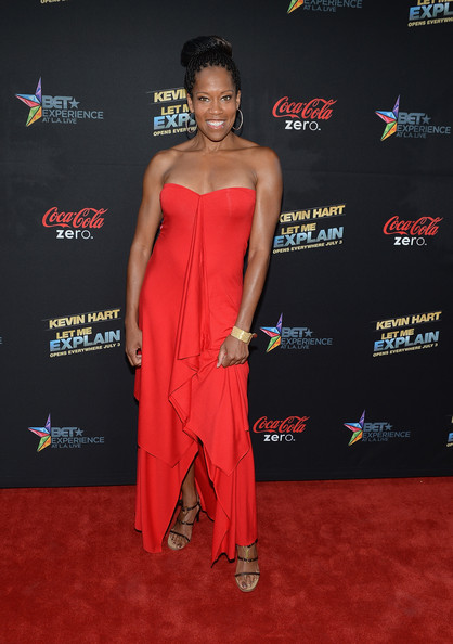 Actress Regina Kingarrives at the premiere of Summit Entertainment and Code Black Film's 'Kevin Hart: Let Me Explain' at Regal Cinemas L.A. Live on June 27, 2013 in Los Angeles