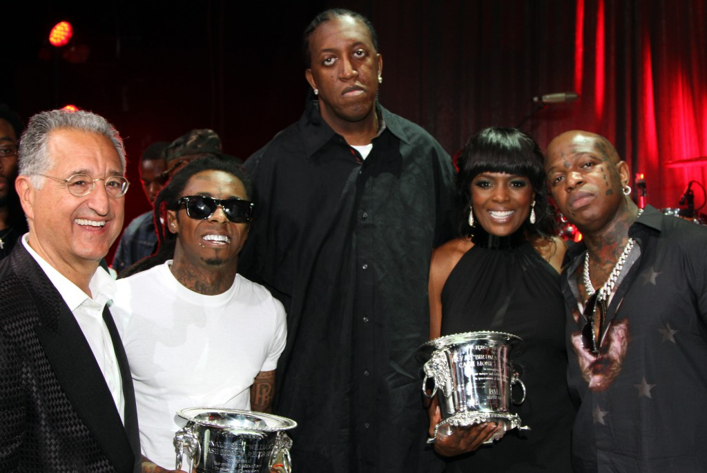 l to r: BMI President and CEO Del Bryant, Lil Wayne, Slim, BMI Vice President, Catherine Brewton, and Birdman