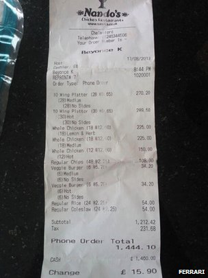 Beyonce Chicken Receipt