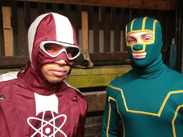 "Donald Faison and Aaron Johnson in ""Kick Ass 2"""