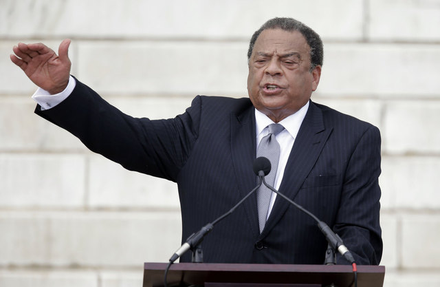 Former United Nations Ambassador Andrew Young speaks at the Let Freedom Ring ceremony at the Lincoln Memorial in Washington, Wednesday, Aug. 28, 2013, to commemorate the 50th anniversary of the 1963 March on Washington for Jobs and Freedom