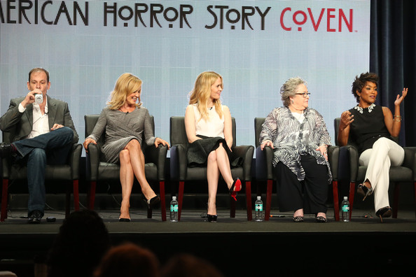 "(L-R) Executive Producer Tim Minear and actresses Jessica Lange, Sarah Paulson, Kathy Bates, and Angela Bassett speak onstage during the ""American Horror Story: Coven"" panel discussion at the FX portion of the 2013 Summer Television Critics Association tour - Day 10 at The Beverly Hilton Hotel on August 2, 2013 in Beverly Hills"