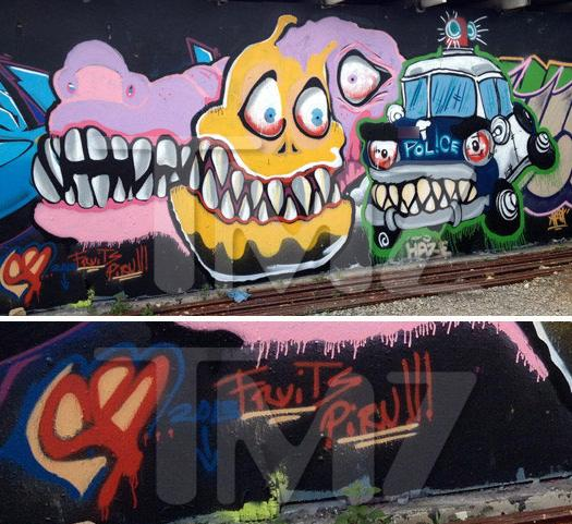 chris brown bloods graffiti