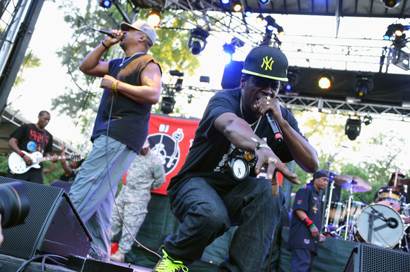 Chuck D (L) and Flavor Flav of Public Enemy perform onstage at the Firefly Music Festival at The Woodlands of Dover International Speedway on June 21, 2013 in Dover, Delaware