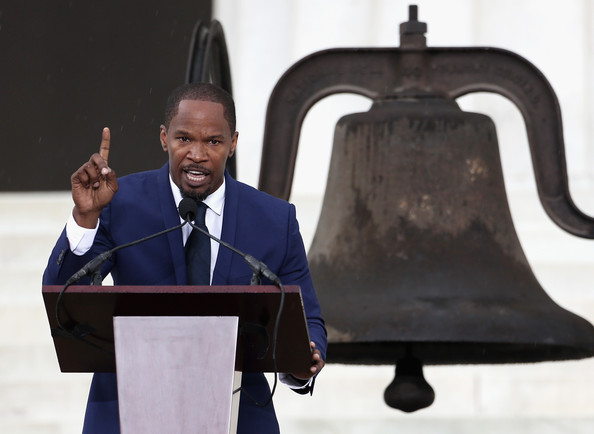 Actor and singer Jamie Foxx speaks during the Let Freedom Ring ceremony at the Lincoln Memorial August 28, 2013 in Washington, DC