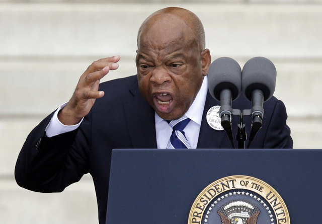Rep, John Lewis, D-Ga. speaks at the Let Freedom Ring ceremony at the Lincoln Memorial in Washington, Wednesday, Aug. 28, 2013, to commemorate the 50th anniversary of the 1963 March on Washington for Jobs and Freedom