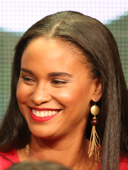 "Actress Joy Bryant speaks onstage during the ""Parenthood"" panel discussion at the NBC portion of the 2013 Summer Television Critics Association tour - Day 4 at the Beverly Hilton Hotel on July 27, 2013 in Beverly Hills"