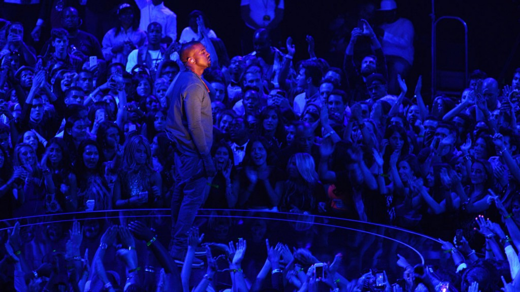 Kanye West performs on stage at the MTV Video Music Awards on Sunday, Aug. 25, 2013, at the Barclays Center in the Brooklyn borough of New York.