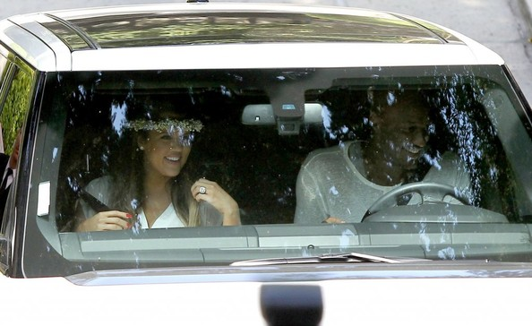 Khloe Kardashian and Lamar Odom attend the baby shower honoring Kim Kardashian in Beverly Hills, California on June 2, 2013.