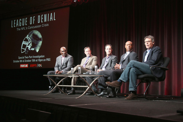 "(L-R) NFL Hall of Famer Harry Carson, investigative reporter and author Mark Fainaru-Wada, journalist and ESPN writer Steve Fainaru, senior coordinating producer at ESPN Dwayne Bray and filmmaker Michael Kirk speak onstage during the ""League of Denial: The NFL's Concussion Crisis"" panel at the PBS portion of the 2013 Summer Television Critics Association tour at the Beverly Hilton Hotel on August 6, 2013 in Beverly Hills"