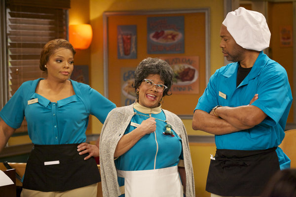 "From left, Linda Love Harris (Played by Kendra C. Johnson), Hattie Mae Love (Played by Patrice Lovely) and Floyd Stanley Jackson (Played by Palmer Williams) in the television show ""Love Thy Neighbor"""