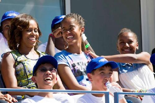michelle obama & daughters at 2013 us open