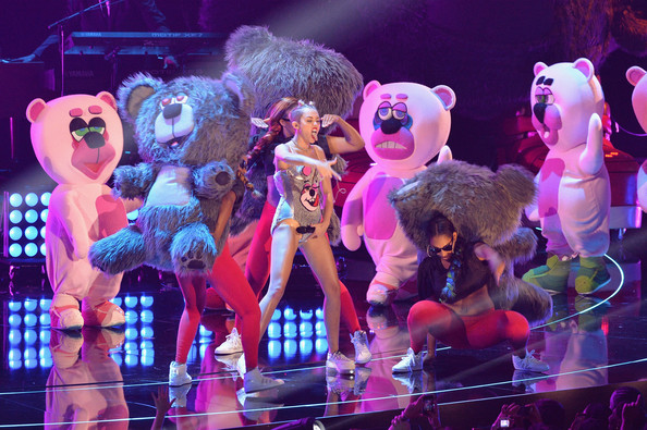 Miley Cyrus performs onstage during the 2013 MTV Video Music Awards at the Barclays Center on August 25, 2013 in the Brooklyn borough of New York City
