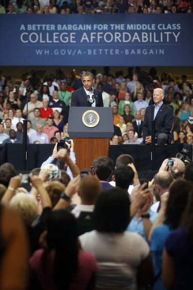 President Barack Obama, (L) speaks at an event as U.S. Vice President Joe Biden, (R), looks on at Lackawanna College on August 23, 2013 in Scranton, Pennsylvania