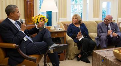 (L-R) President Obama, Sybil Wilkes and Tom Joyner