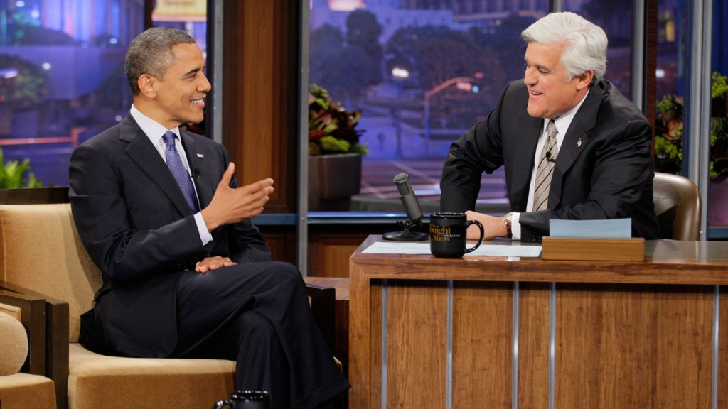 THE TONIGHT SHOW WITH JAY LENO -- Episode 4338 -- Pictured: (l-r) President Barack Obama, Jay Leno -- (Photo by: Paul Drinkwater/NBC)