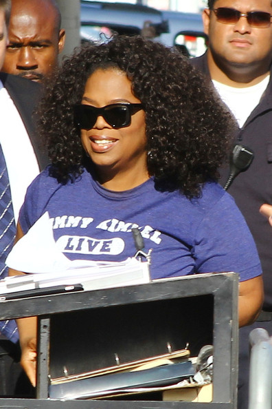 Oprah Winfrey arrives at the Jimmy Kimmel Studio for an appearance on 'Jimmy Kimmel Live' in Hollywood. (August 14, 2013)