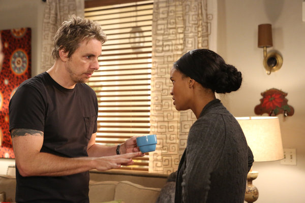 "PARENTHOOD -- ""The Talk"" Episode 404 -- Pictured: (l-r) Dax Shepard as Crosby Braverman, Joy Bryant as Jasmine Trussell"