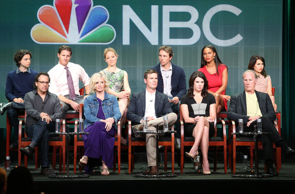 "(Back row: L-R) Actors Max Burkholder, Sam Jaeger, Erika Christensen, Dax Shepard, Joy Bryant, Mae Whitman (Front row: L-R) and Executive Producer Jason Katims, and actors Monica Potter, Peter Krause, Lauren Graham, and Craig T. Nelson speak onstage during the ""Parenthood"" panel discussion at the NBC portion of the 2013 Summer Television Critics Association tour - Day 4 at the Beverly Hilton Hotel on July 27, 2013 in Beverly Hills"
