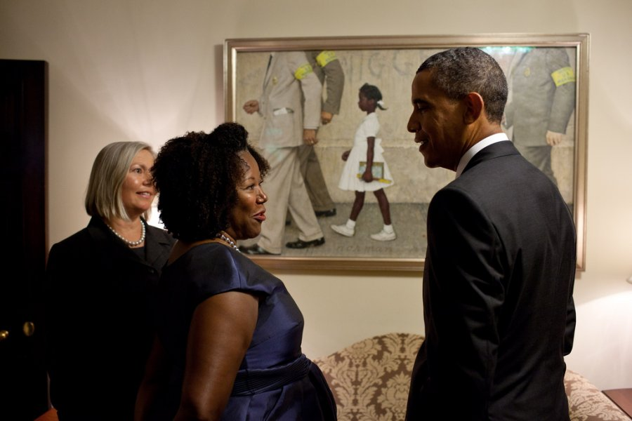 President Obama and Ruby Bridges look at her