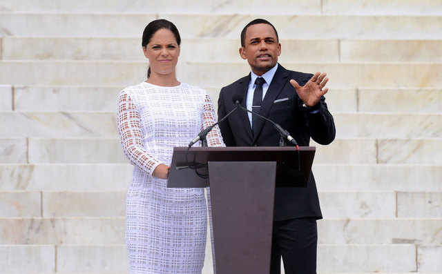 "Soledad O'Brien and Hill Harper deliver remarks at the ""Let Freedom Ring"" ceremony to commemorate the 50th anniversary of the March on Washington for Jobs and Freedom at the Lincoln Memorial on the National Mall on August 28, 2013 in Washington, DC"