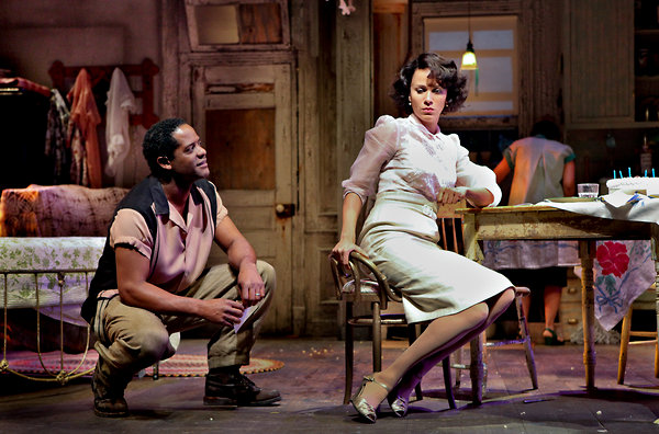 "Blair Underwood, left, as Stanley and Nicole Ari Parker as Blanche in the Broadway revival of ""A Streetcar Named Desire"" at the Broadhurst Theater"