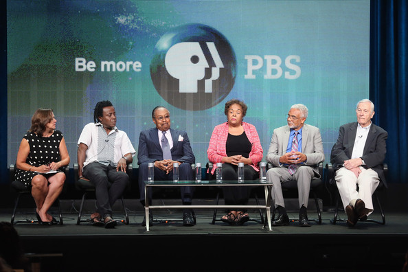 """L-R) Chief Programming Officer and GM, General Audience Programming at Public Broadcasting Service Beth Hoppe, director John Akomfrah, Martin Luther King, Jr. Aide Clarence Benjamin Jones, field secretary for the SNCC and March participant Joyce Ladner, Professor and March participant Clayborne Carson and CBS anchorman Roger Mudd speak onstage during """"The March"""" panel discussion at the PBS portion of the 2013 Summer Television Critics Association tour at the Beverly Hilton Hotel on August 5, 2013 in Beverly Hills"""