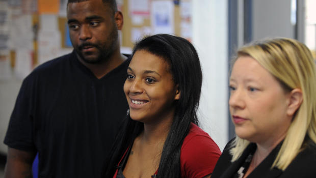 Jawaan McCullough, left, and Jaleesa Martin, center, and lawyer Kristi Davis