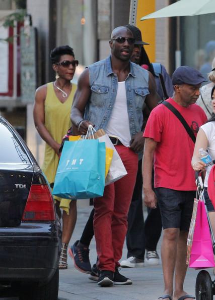 Adewale Akinnuoye-Agbaje seen shopping at Diesel in Yorkville, Toronto. Adewale was in Toronto shooting 'Pompeii'. (July 13, 2013)