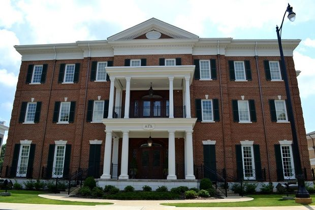 Alpha Gamma Delta. The University of Alabama sorority houses on Colonial and Magnolia Drives on campus.
