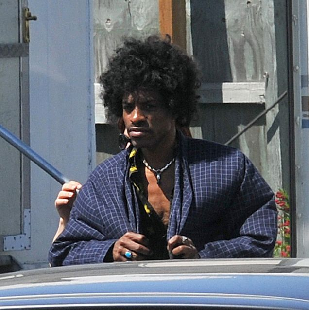 Andre Benjamin portrays Jimi Hendrix on the first day of filming 'All Is by My Side' Dublin, Ireland (May 28, 2012)