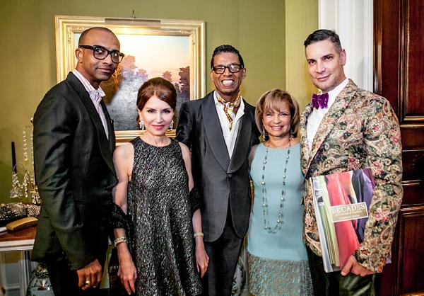Decades book bash hosts (left to right) Mark-Anthony Edwards, Jean Shafiroff, B Michael and Kathryn C. Chenault are pictured with author Cameron Silver