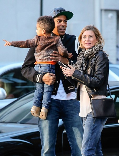 'Grey's Anatomy' actress Ellen Pompeo and husband Chris Ivery take their daughter Stella out for dinner in New York City, New York on September 23, 2013